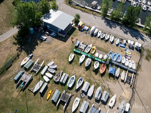 Small craft storage at Aylmer Marina. Ottawa Riverkeeper 4K Swim. Kite aerial photograph.