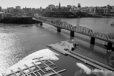 Alexandra Bridge across the Ottawa River. Aerial view.
