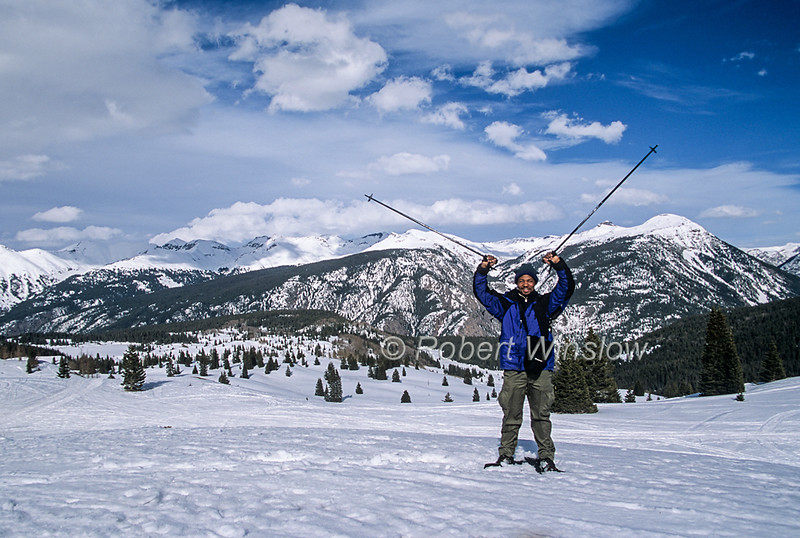 Probable Model Release, Visitor from Kenya, Snowshoeing, Molas Pass, San Juan National Forest, Colorado, USA, North America