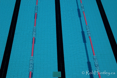 Swimming pool lane marker ropes and black lines on the bottom.  License this photo on Getty Images  © Rob Huntley