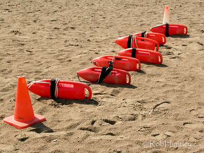 Lifesaving buoys lined up for a lifeguard training exercise.