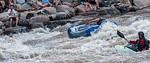 Flipped Raft, Swimmers in Water, Kayak, Animas River Days, Animas River, Smelter Rapid, Durango, Colorado, USA, North America, Flipped Raft, Swimmer, Kayak,