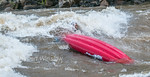 Overturned Inflatable Kayak, Swimmer in Water,  Animas River Days, Animas River, Smelter Rapid, Durango, Colorado, USA, North America