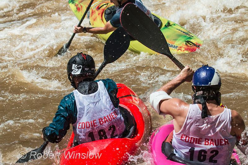 Kayakers, Animas River Days, Animas River, Smelter Rapid, Durango, Colorado, USA, North America