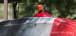 Kayaker, camera on helmet, Carring Kayak, Animas River Days, Animas River, Smelter Rapid, Durango, Colorado, USA, North America