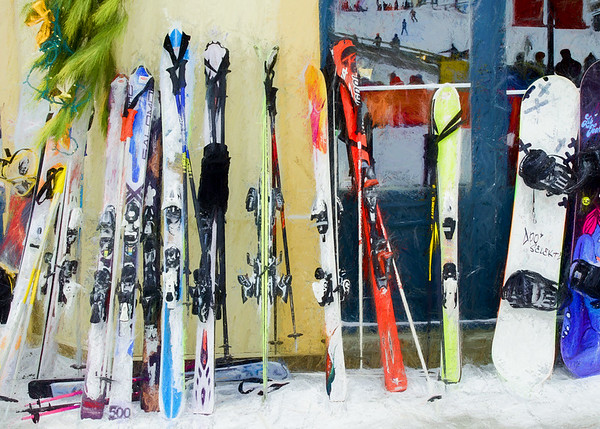 Skis by the window.