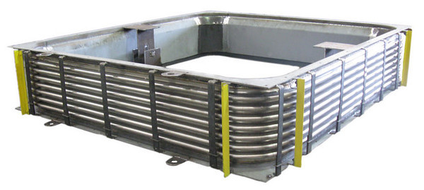 16 foot square rectangular expansion joint with stainless steel bellows