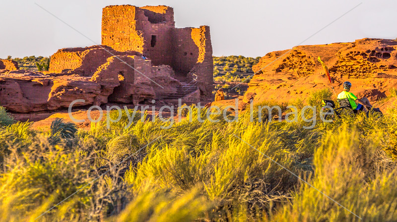 Biker at sunset in Wupatki National Monument, Arizona-D1-C1-0257 - 72 ppi - 2