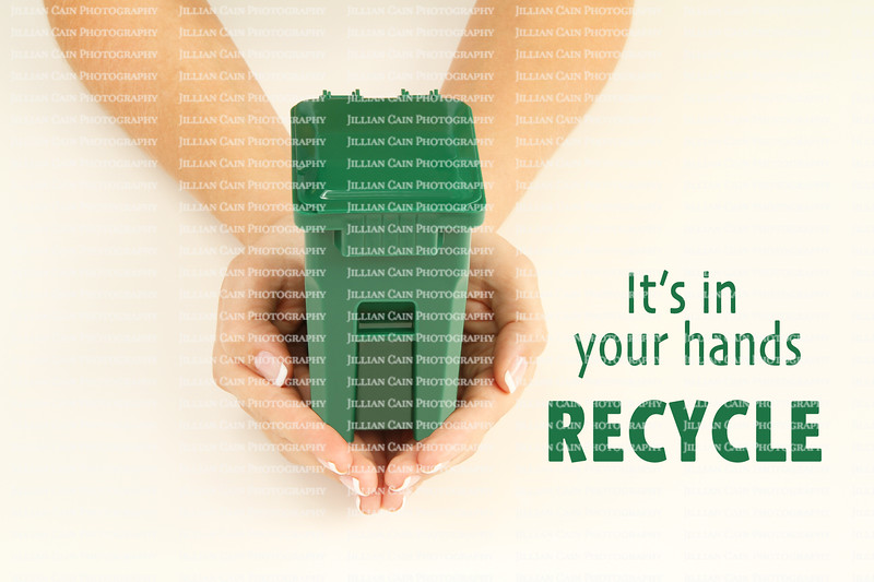 Female hands holding a garbage can, it's in your hands Recycle