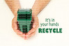 Male hands holding a garbage bin, it's in your hands, recycle