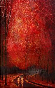 """Crimson Leaves"" (dripped gloss enamel) by Michael Romero Duran"