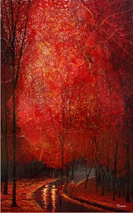 """Crimson Leaves"" (dripped gloss enamel) by Michael Romero Duran"