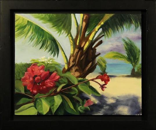 """Bahamian Blossom"" (oil on panel) by Krystal Johnson"