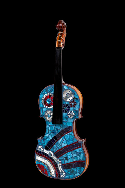 """""""The violin sings, but the fiddle dances."""" (reclaimed mosaic violin) by Jane Glotzer"""