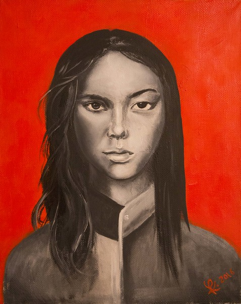 """Daughter Human"" (oil on canvas) by Julia Kobozeva"