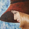"""Portrait in a hat"" (oil on canvas) by Regina Grauberger"