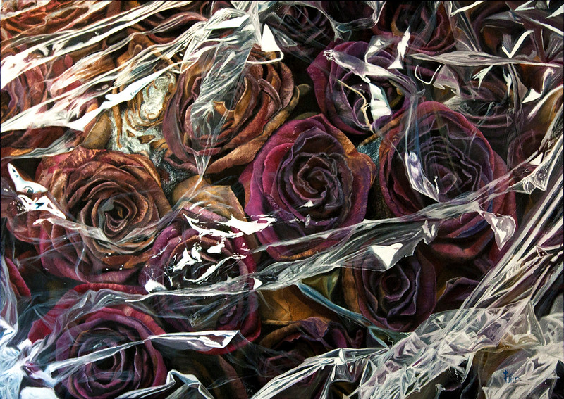 """Сellophane Withering"" (oil on canvas) by Kate Kamington"