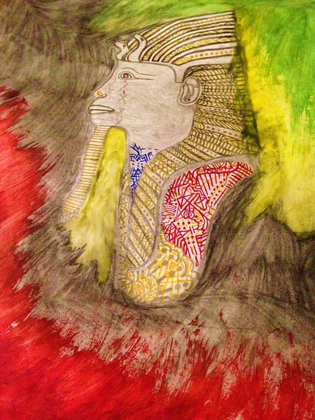 """""""Glitter & Gold..."""" (paint, ink, Wwillow charcoal and pencil) by Joshua Higgins"""