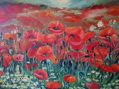 """Poppy flowers"" (oil on canvas) by Regina Grauberger"