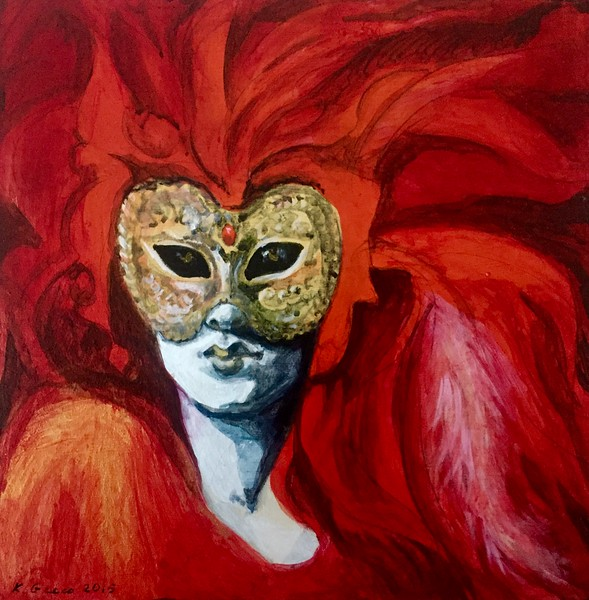 """Red Venetian"" (acrylic on cardboard) by Katya Greco"