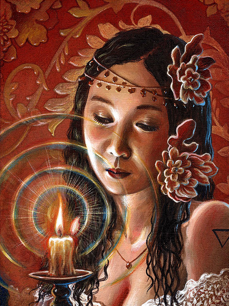 """""""The Girl by Candlelight"""" (acrylic on wallpapered wood panel) by Crescent Seo"""