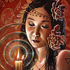 """The Girl by Candlelight"" (acrylic on wallpapered wood panel) by Crescent Seo"