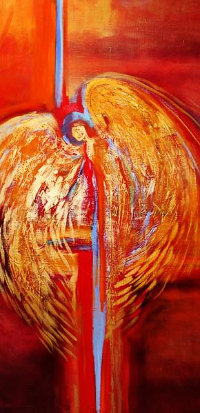 """red angel"" (acrylic) by Laura Thrubon"