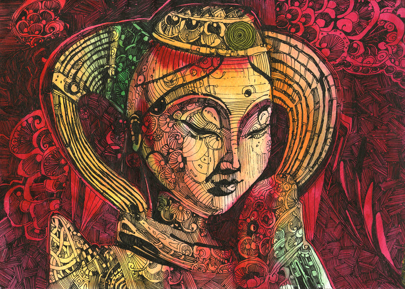 """""""Calm down in red."""" (watercolor, digital) by Ivan Bokov"""