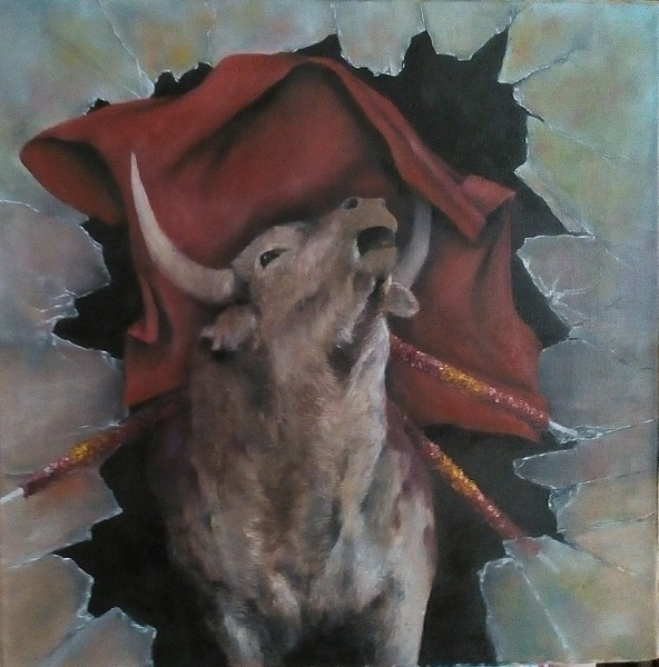 """Violent games"" (oil on canvas) by Anastasiya Kaminskaya"