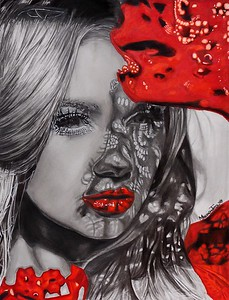 """Lady in Red"" (graphite, charcoal, colored pencils, and ink) by Marina Cappalli"