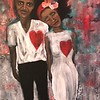 """Heart2Heart"" (acrylic, oil, collage) by Jackquelyn Foster"