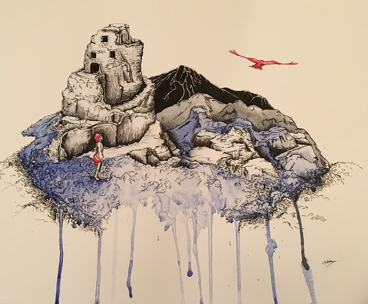"""""""Serendipitous Quest"""" (watercolor, pen and ink) by Christine Kurpiel-Wakamiya"""