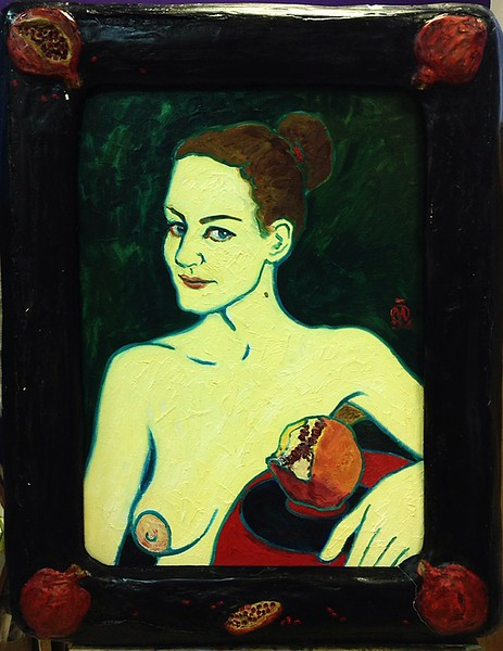 """""""Lady with pomegranate"""" (oil on cardboard) by Evgeny Kovalchuk"""