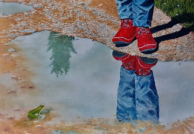 """""""At The Mud Puddle"""" (oil) by Louis Degni"""