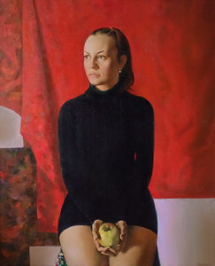 """Irina on the red."" (oil on canvas) by Tanya Fomkina"