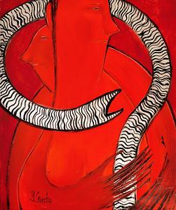 """Communication #1"" (mixed media) by Yana Gusto"