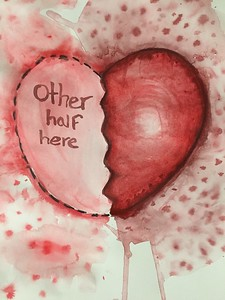 """Other Half Here"" (watercolor) by Hailey Gobel"