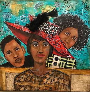 """Behind The Church Hat"" (oil, acrylic, collage, marker, gel pen, feather) by Jackquelyn Foster"