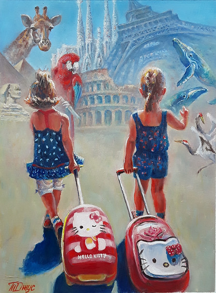 """Towards adventures"" (oil on cardboard) by Tatiana Juice"