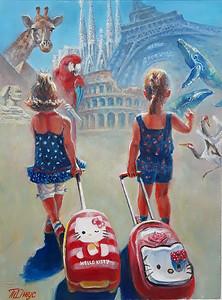 """Towards adventures"" (oil on cardboard) by Tatiana Juice"