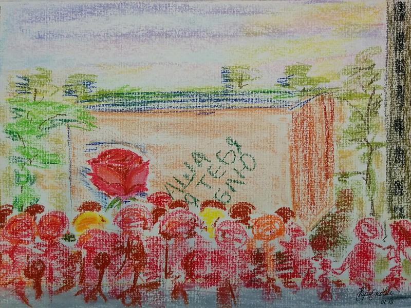"""Nothing in the crowd is visible"" (pastel) by Darya Kryukova"