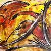 """The birth of a Phoenix"" (watercolor, acrylic, ink) by Nina Polunina"