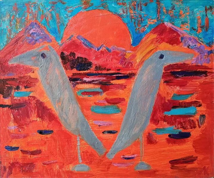 """""""Birds"""" (oil) by Larisa Karaseva"""