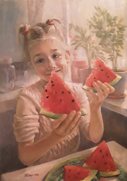 """""""Girl with a watermelon"""" (oil on canvas) by Tatiana Juice"""