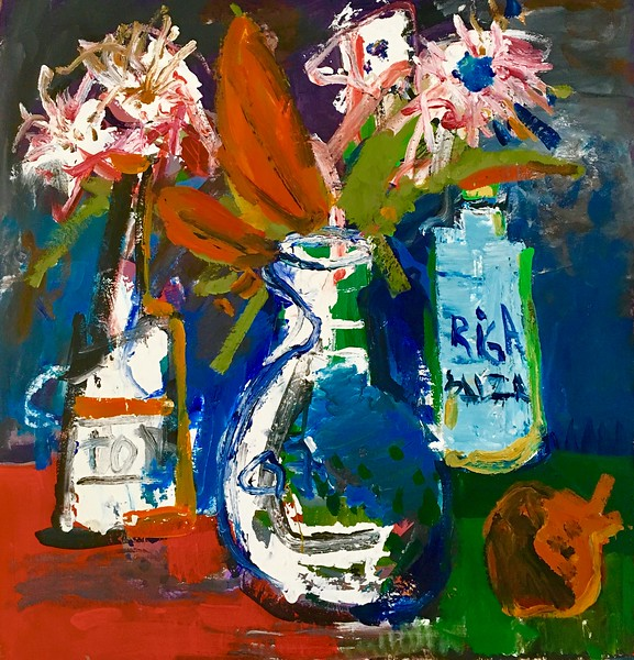 """The still Life with heart"" (acrylic on cardboard) by Anna Abidina"