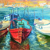 """Red boat"" (oil) by Hanna Davydchenko"