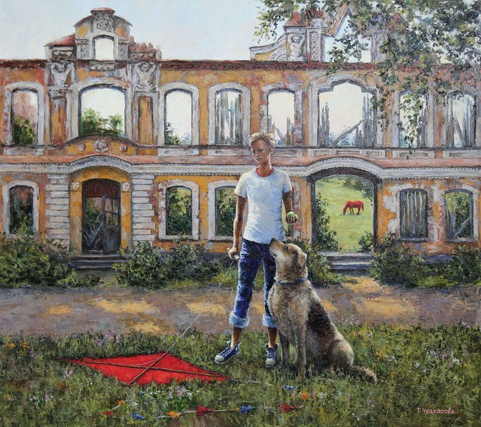 """Boy with a dog"" (oil on canvas) by Tatiana Chepkasova"