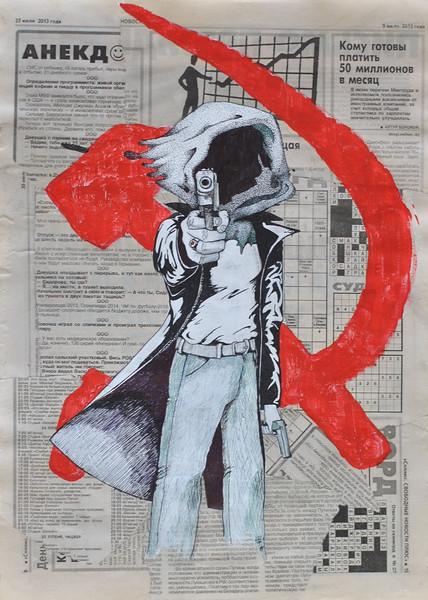 """Scoop"" (acrylic, newspaper) by Eugenie Кuzikevich"