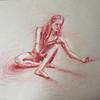"""""""Before the dancing begins"""" (red pencil) by Veronika Doljenkova"""