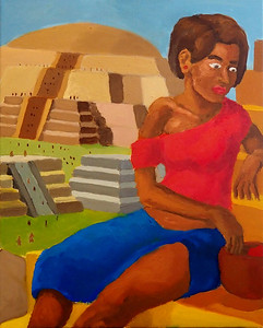 """Woman on a Staircase"" (oil on canvas) by Royce Brown"